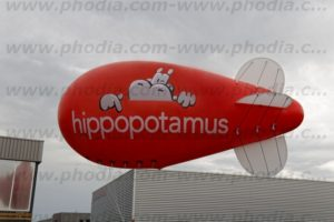 ballon dirigeable signaletique hippopotamus
